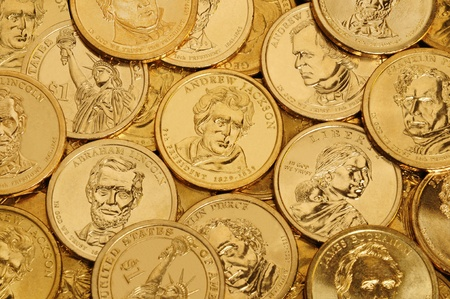 Layer of gold one dollar U.S. Presidential coins