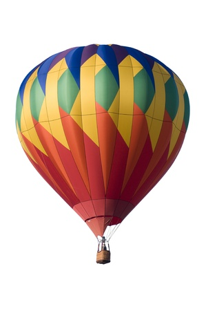 Colorful hot-air balloon floating against white background