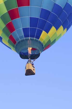 ignited: Hot-air balloon floating with view of gondola and burner ignition from below