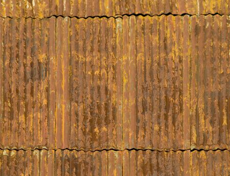 corroded: Corroded and rusty corrugated metal roof panels Stock Photo