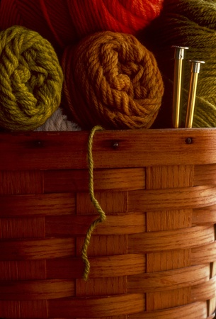 Skeins of wool yarn in a basket with knitting needles photo