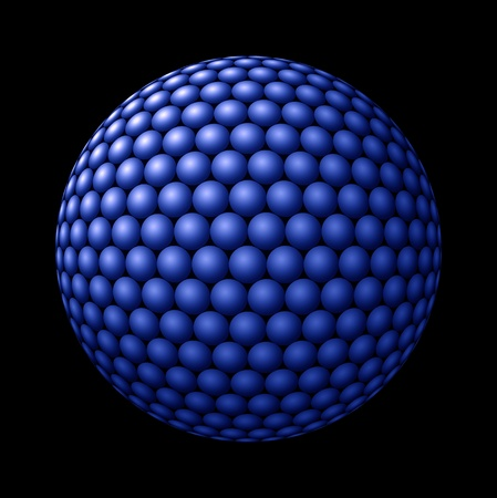 larger: Blue spheres clustered into a larger sphere