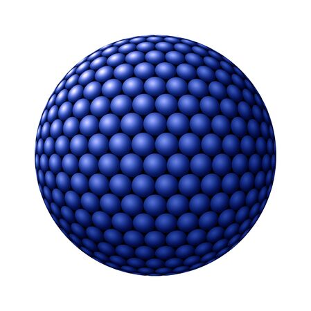 larger: Blue spheres clustered into a larger sphere against white background Stock Photo