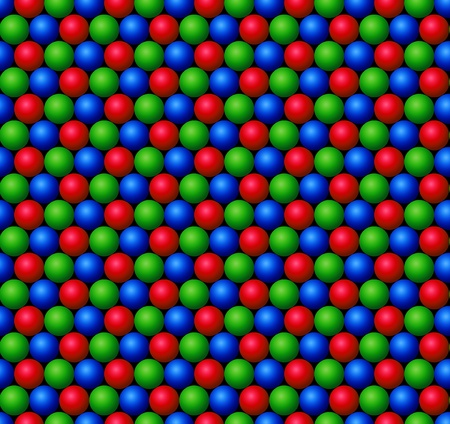 repeated: Red, Green and Blue spheres repeated in plane