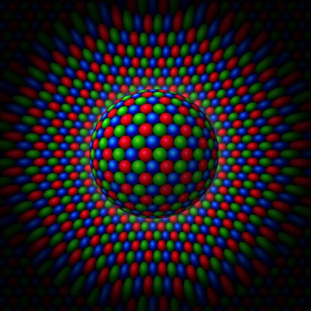 Red, Green and Blue spheres clustered into a larger sphere surrounded by a field of RGB spheres