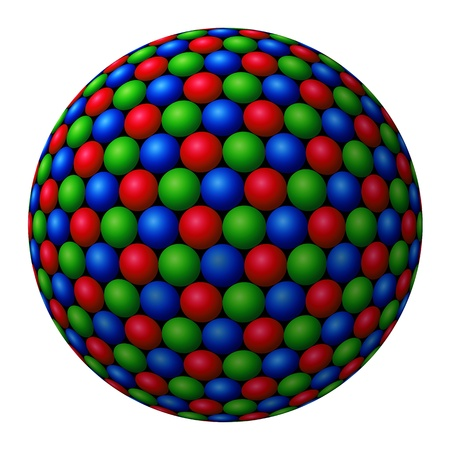 A cluster of red, green and blue (RGB) spheres forming a larger fractal sphere on white background