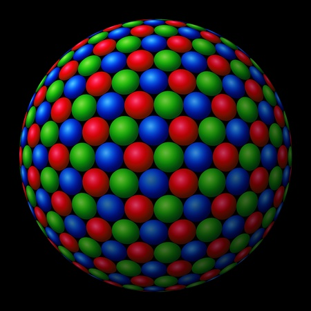 larger: A cluster of red, green and blue (RGB) spheres forming a larger fractal sphere on black background Stock Photo