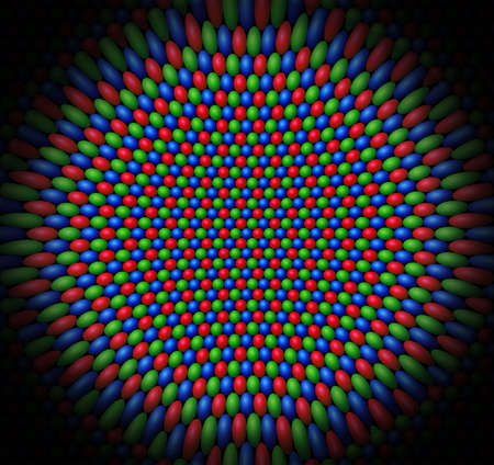 concave: Concave surface of Red, Green and Blue (RGB) spheres representing the cone cells of a retina