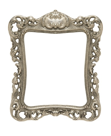 silver frame: An ornate pewter picture frame silhouetted against a white background