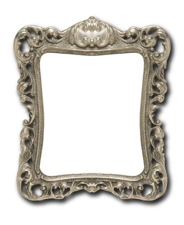 silver frame: An ornate pewter picture frame against a white background with drop shadow Stock Photo