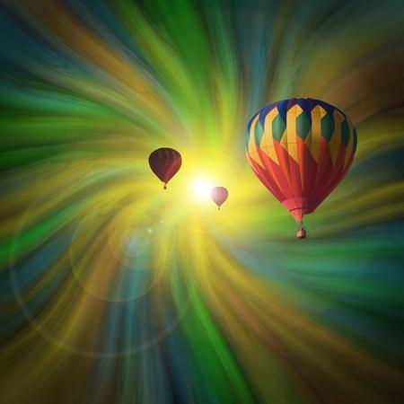 뜨거운 공기 풍선 파스텔 소용돌이에 비행 스톡 콘텐츠