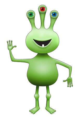Illustration of green three-eyed extraterrestrial alien waving