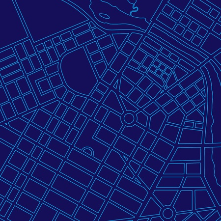 Blue digital map of a generic urban city Standard-Bild