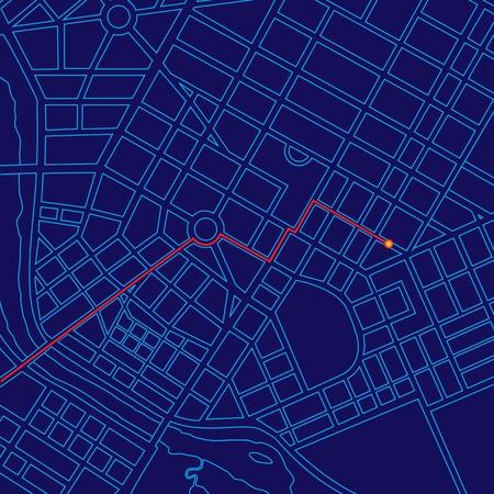 Digital map tracking traveler with GPS through generic urban city 写真素材