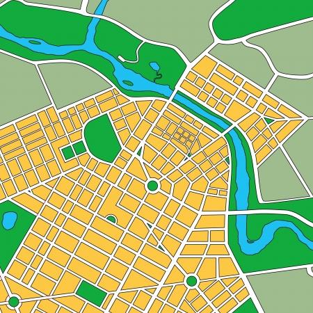 Kaart of plattegrond van generieke stedelijke stad met straten en parken