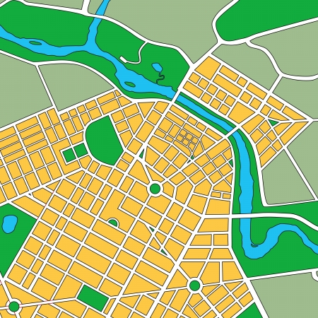 Map or plan of generic urban city showing streets and parks