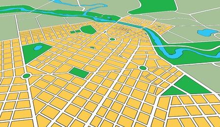 Kaart of plan van generieke stedelijke stad met straten en parken in perspectief hoek