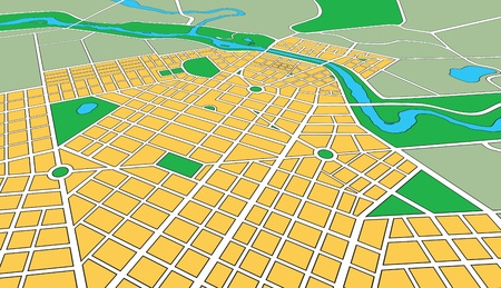 Map or plan of generic urban city showing streets and parks in perspective angle Stock Photo