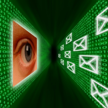 An eye monitoring a corridor of emails and binary code Stock Photo