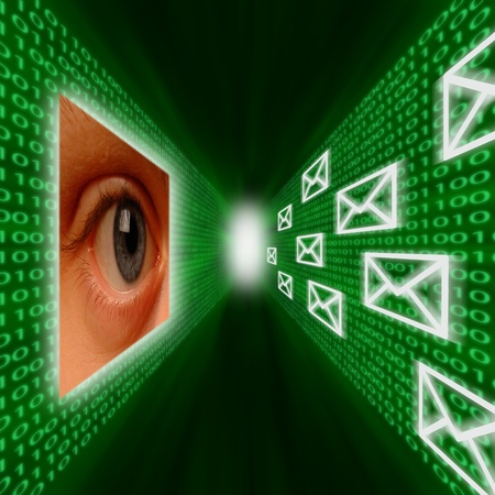 An eye monitoring a corridor of emails and binary code Standard-Bild