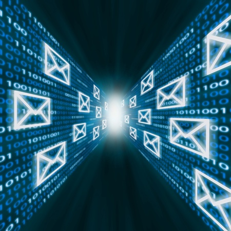 E-mail iconos que vuelan a lo largo de las paredes de código binario azul