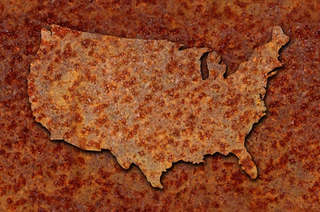 corroded: Rusted corroded metal map of the United States seamlessly tileable, reddish orange in color