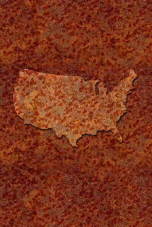 deteriorating: Rusted corroded metal map of the United States, reddish orange in color  Stock Photo