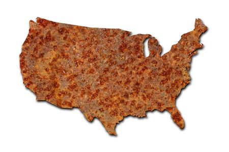 corroded: Rusted corroded metal map of the United States on white background