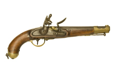 dueling: Authentic Revolutionary War flintlock pistol isolated against a white background