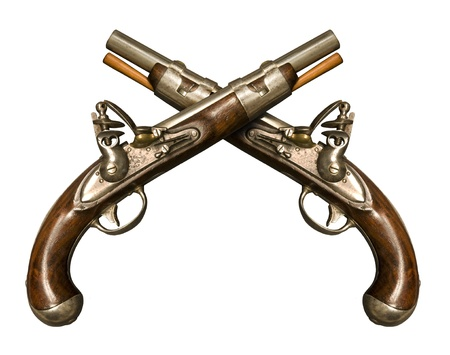 dueling: Two Crossed Flintlock Pistols against white background. Flintlock pistols manufactured by gunmaker Simeon North circa 1813, although it is similar to what was used during the American Revolution. It was one of the few flintlocks made in the United States