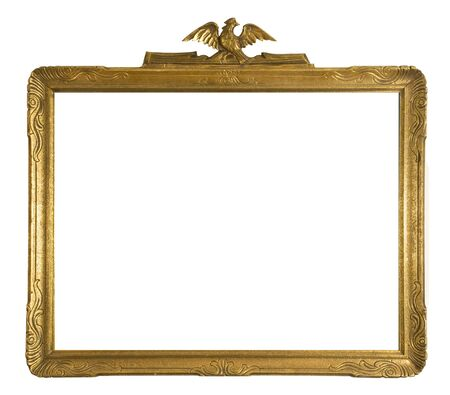 Antique gold ornate picture frame isolated on a white background