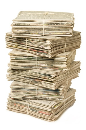 Stack of bound newspapers for recycling