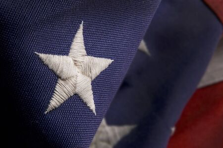 star: Closeup of a star stitched on an America Flag Stock Photo