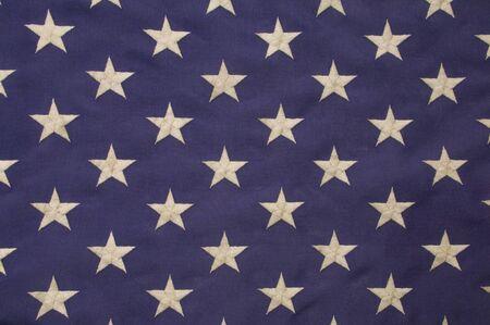 gestickt: Bestickten wei�en Sternen auf blauem Feld, die die Union auf der amerikanischen Flagge repr�sentiert Lizenzfreie Bilder