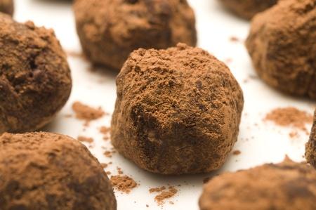 Handmade chocolate truffles in cocoa powder