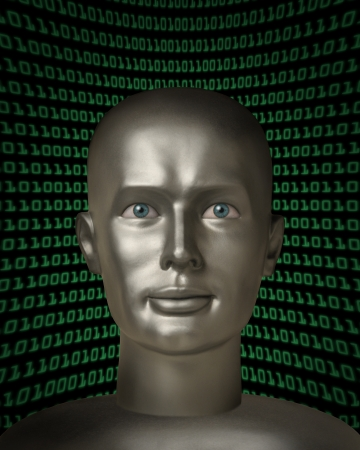Head of a robotic  with human eyes in front of a field of binary code photo