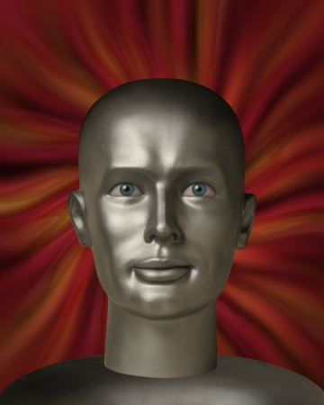 robot head: robot head with human eyes in a red vortex Stock Photo
