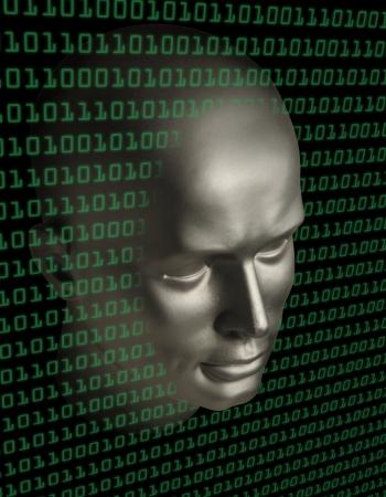 A robot  face penetrating a wall of binary code