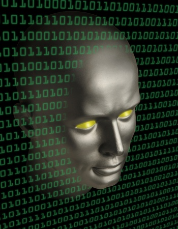 A robot  face with yellow eyes penetrating a wall of binary code