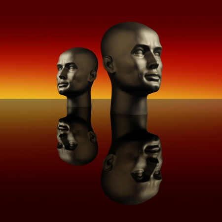 Two mannequin heads on a dark reflective surface with a red background Stock Photo - 16146099