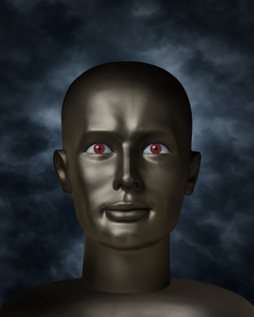 ebony: Dark mannequin face with red eyes in the darkness