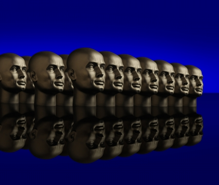 homogeneity: Metallic android mannequin heads lined up in several rows on a reflective black surface with a blue background Stock Photo