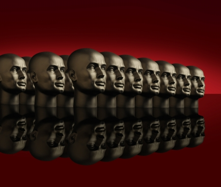Metallic android mannequin heads lined up in several rows on a reflective black surface with a red background Stock Photo