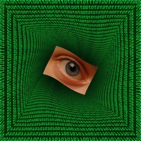 Eye in the center of a square vortex of binary code Stock Photo - 16146225