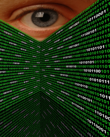 A large eye peering over walls of binary code