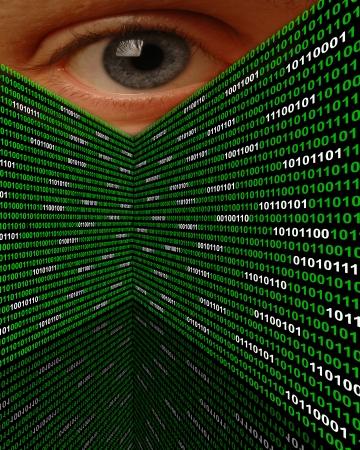 Um grande olho espiando por cima paredes de código binário Banco de Imagens