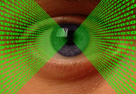 Binary code flowing into an eye