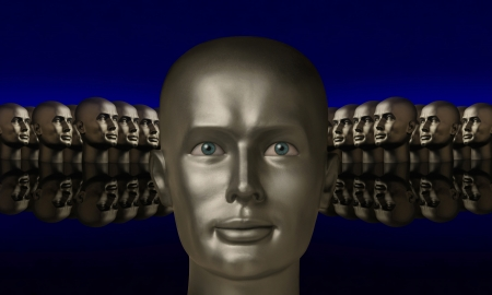Silver mannaquin head flanked by two  groups of heads opposite one another on a reflective black surface with a blue background