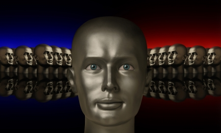 organisational: Silver mannequin head flanked by two groups of heads lined up opposite one another on a reflective black surface with red and blue background