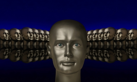 Silver mannequin head flanked by two groups of heads opposite one another on a reflective black surface with a blue background  Banco de Imagens